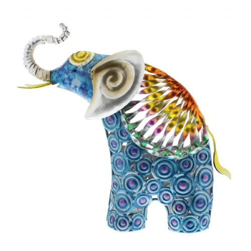 Hand Painted Metal Standing Elephant ornament figurine colour pop home decor
